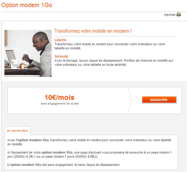 Orange option modem 10 €
