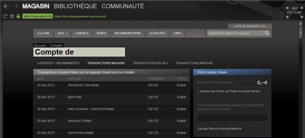 Steam page transactions