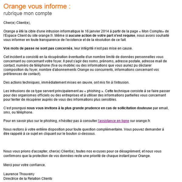 Mail orange intrusion