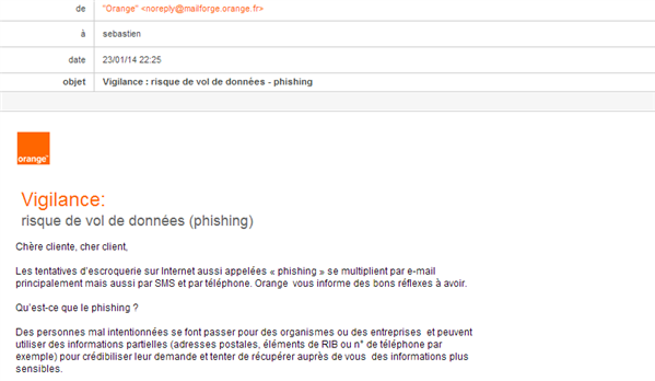 Orange mail phishing