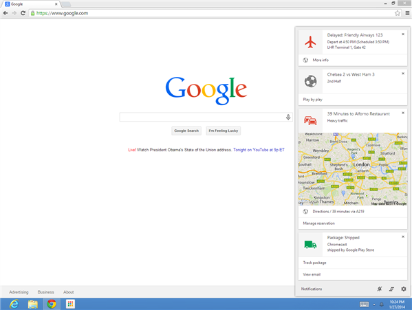 Chrome Google Now