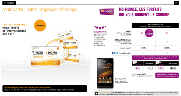 Orange Mobile février 2014