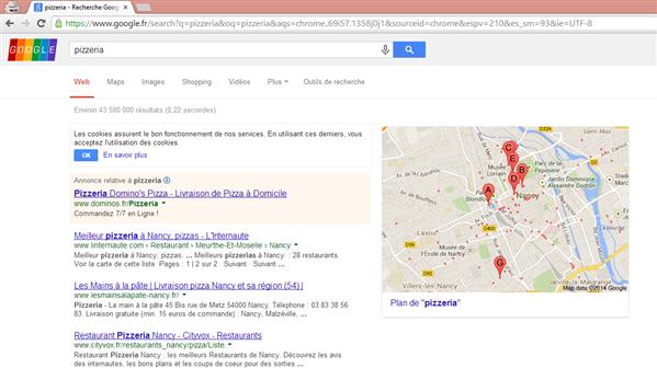 Google Geo Localisation Pizzeria