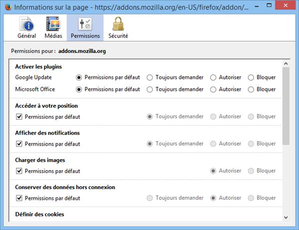 Paramètres Géolocalisation Firefox