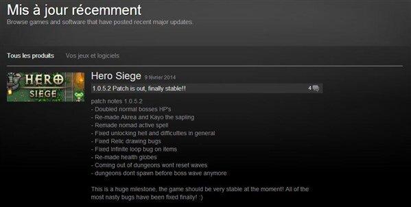 Steam jeux mis à jour