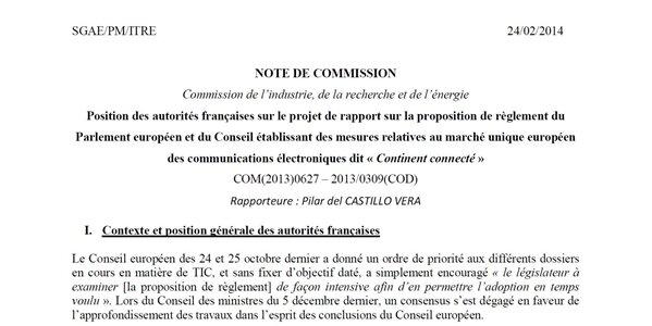 france paquet télécom position française