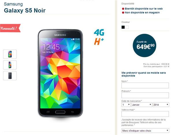 Galaxy S5 Bouygues