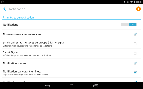 Skype Android Notifications