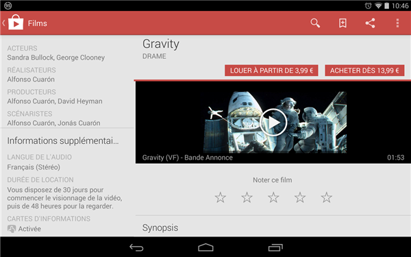 Google Play Film fiches informations