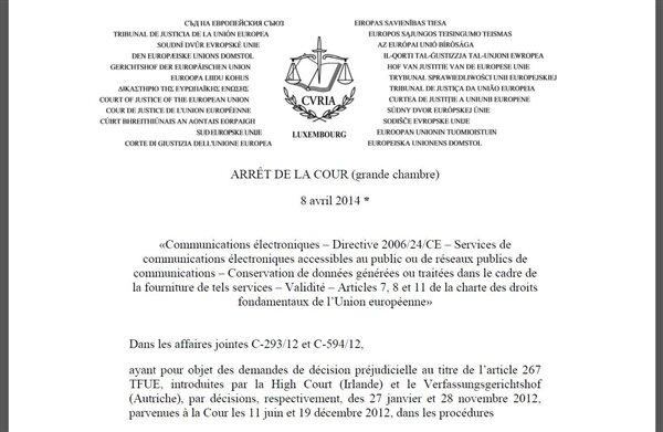 directive données personnelles arrêt 8 avril CJUE