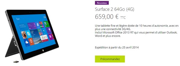 Surface 2 4G Precommande