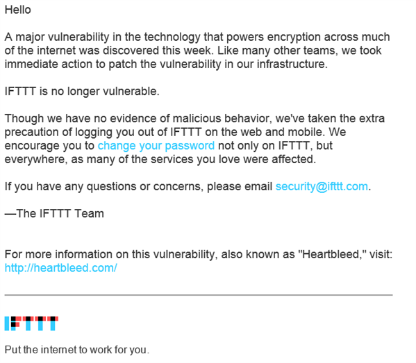IFTTT Heartbleed