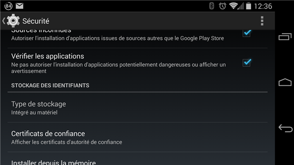 Android verification des applications