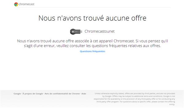 Google Chromecast Aucune offre