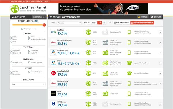 Les offres internet double tarif
