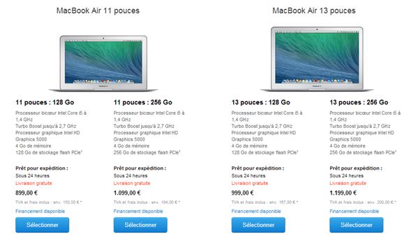 macbook air gamme avril 2014