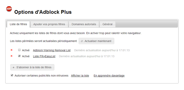 Adblock Plus Warning List