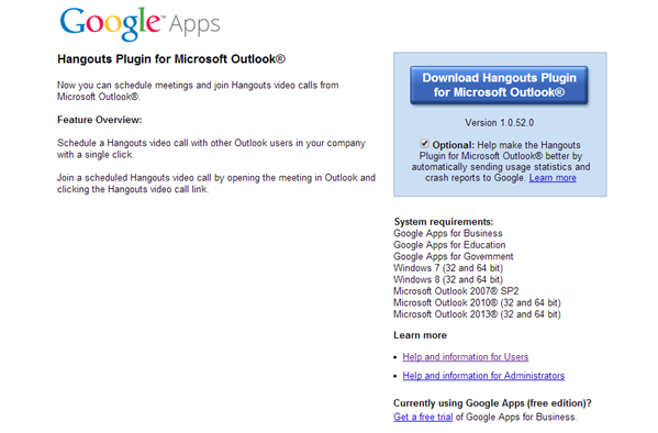 Google Hangouts Outlook Plugin