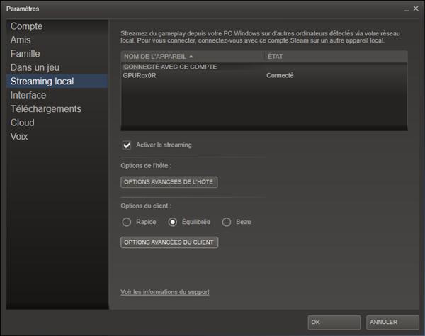 Streaming local Valve Steam Paramètres