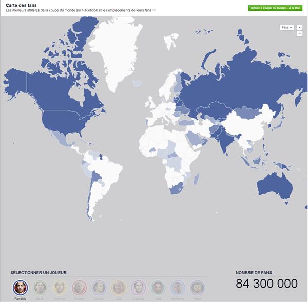 Carte des fans Facebook Coupe du Monde 2014