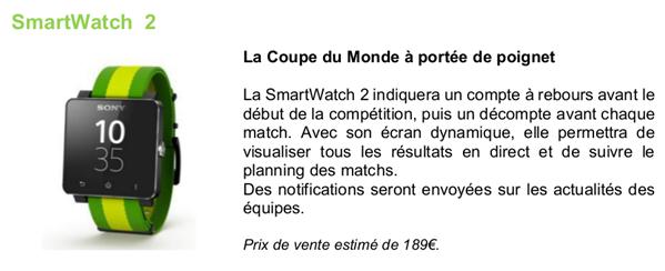 Sony Smartwatch 2 Bresil Coupe du Monde 2014