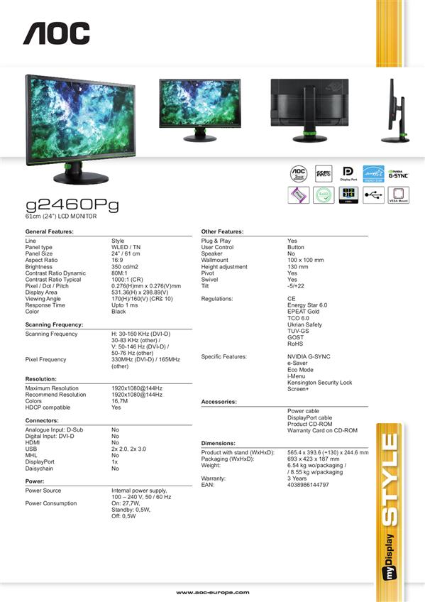 A/C g2460Pg G-Sync