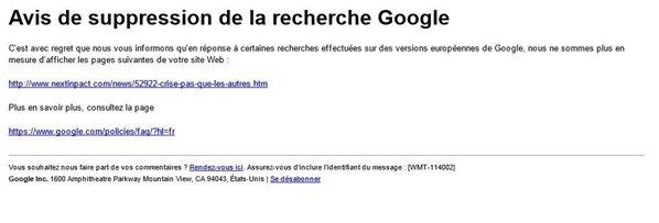 google droit à l'oubli effacement