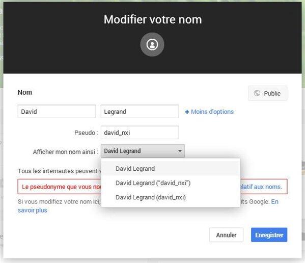 Google+ Changement de nom