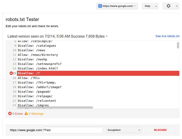 Google Bot Robots.txt Webmaster Tools