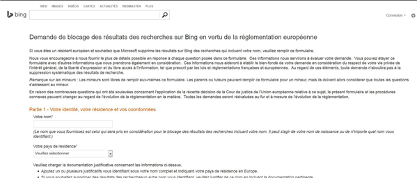 Bing droit à l'oubli