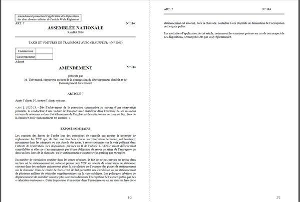 amendement Thévenoud VTC Taxis