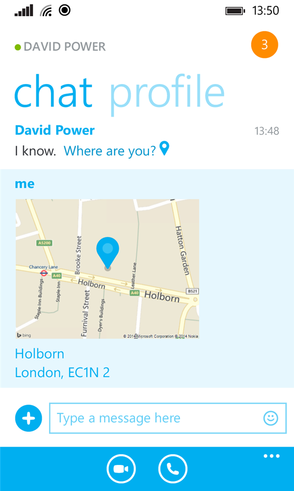 Skype 2.2 Windows Phone Position géographique