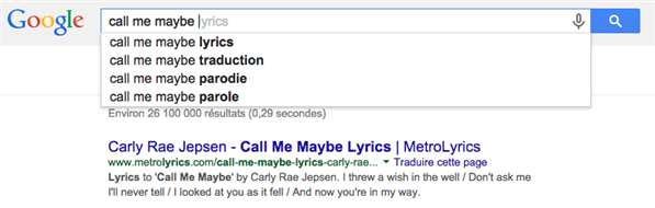 Google suggest call me maybe