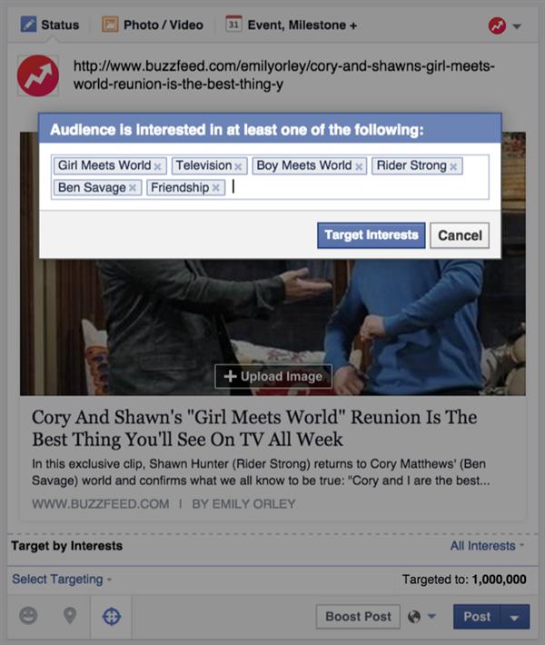 Facebook Publication ciblée