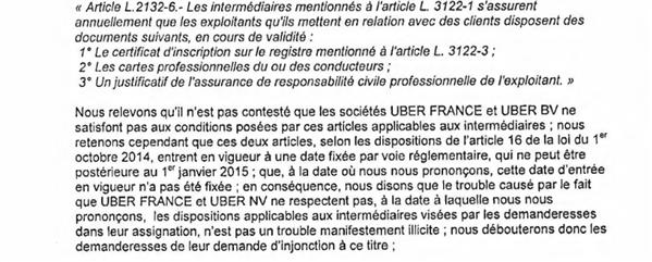 taxis UBER vtc ordonnance