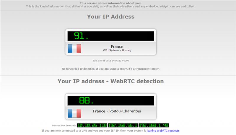IPLeaks VPN webRTC