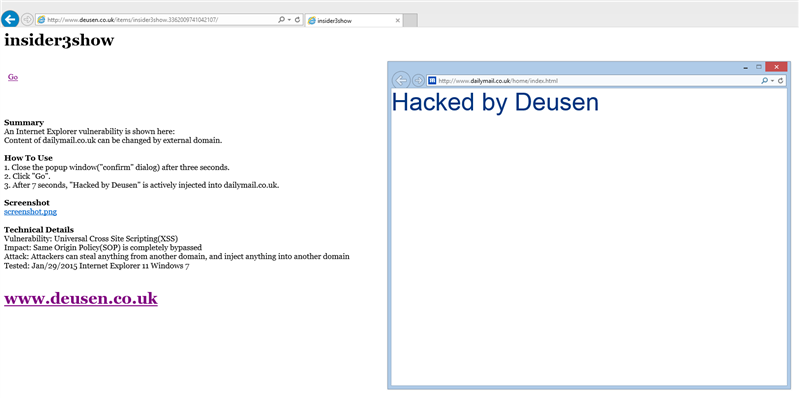 Internet Explorer faille XSS