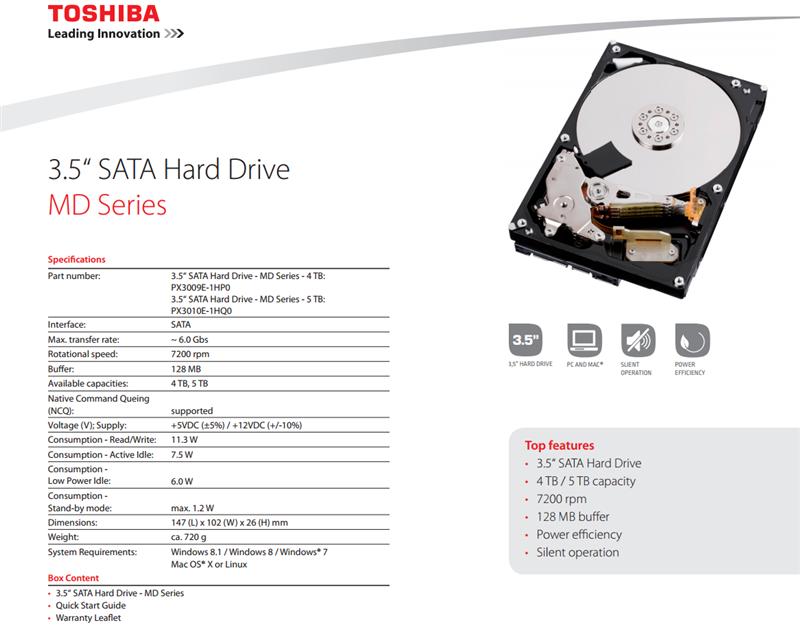 Toshiba MD HDD