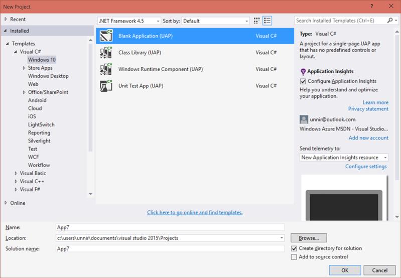 Visual Studio 2015 Windows 10