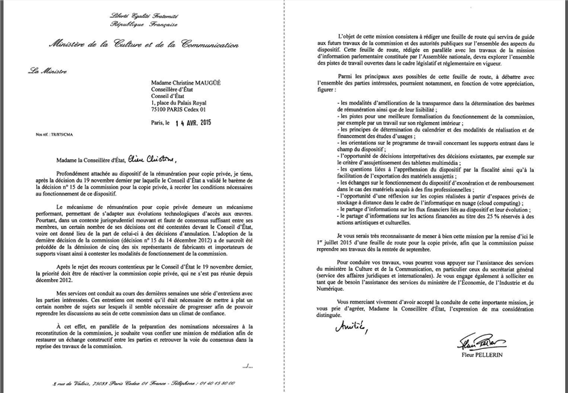 lettre mission copie privée