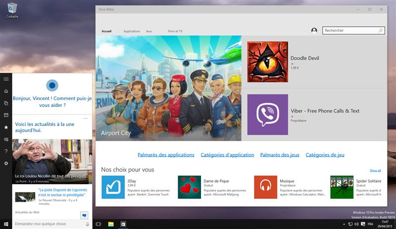 Windows 10 10074 Cortana