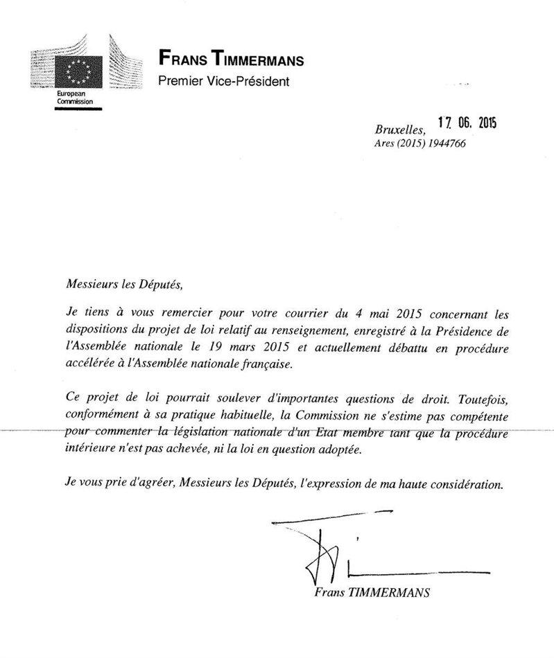 commission européenne loi renseignement