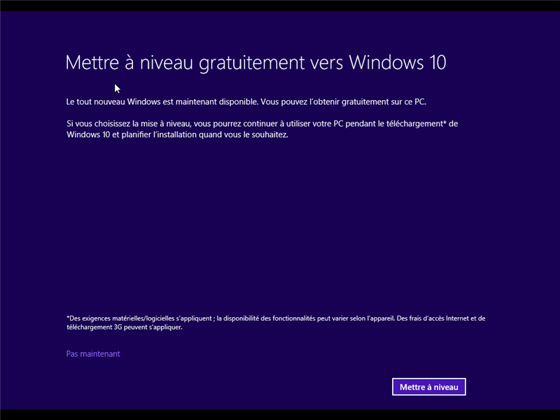 Windows 10 Mise à jour depuis Windows 8.1