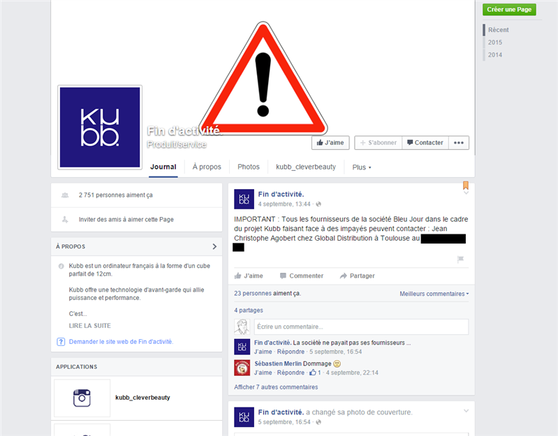 Kubb Facebook Fin d'activité&