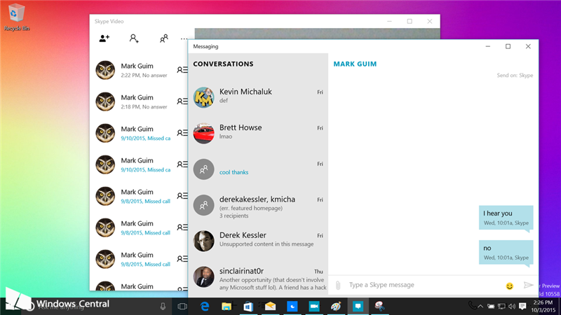 Windows 10 skype messagerie
