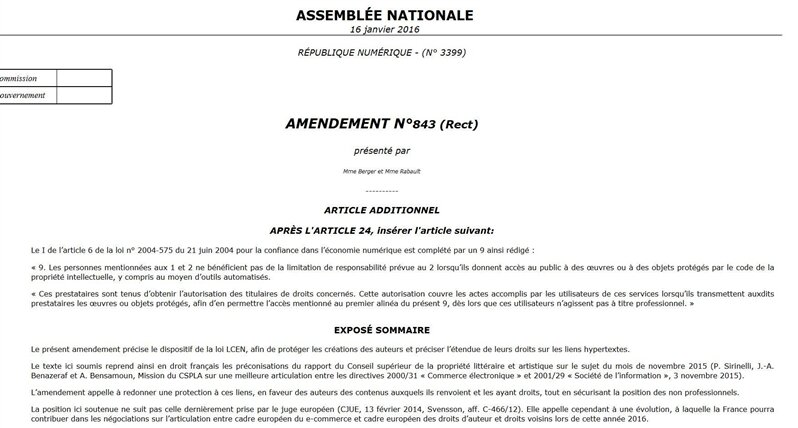 amendement lien hypertexte