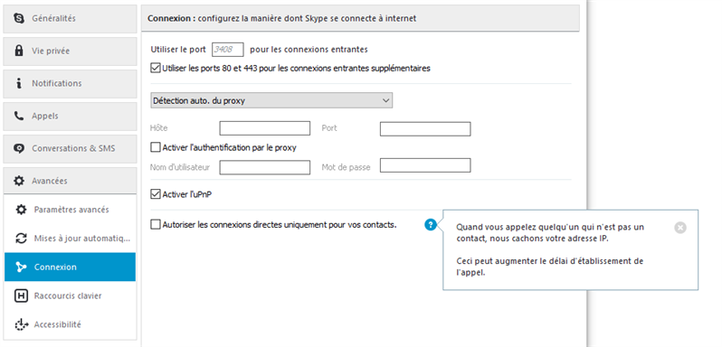 Skype adresse IP