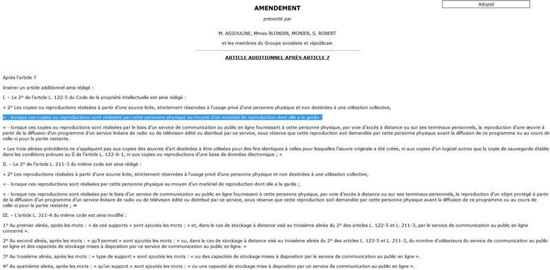 amendement Assouline copie privée