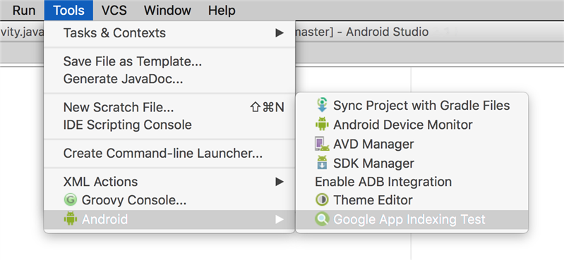 android studio app indexing