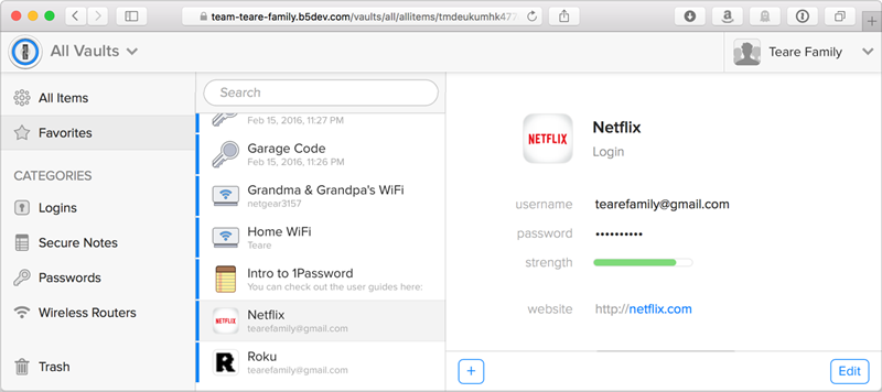 1Password Familles